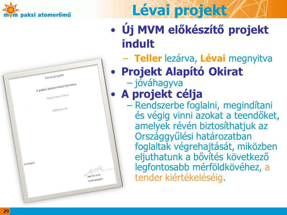 Lévai projekt Új MVM előkészítő projekt indult Projekt Alapító Okirat