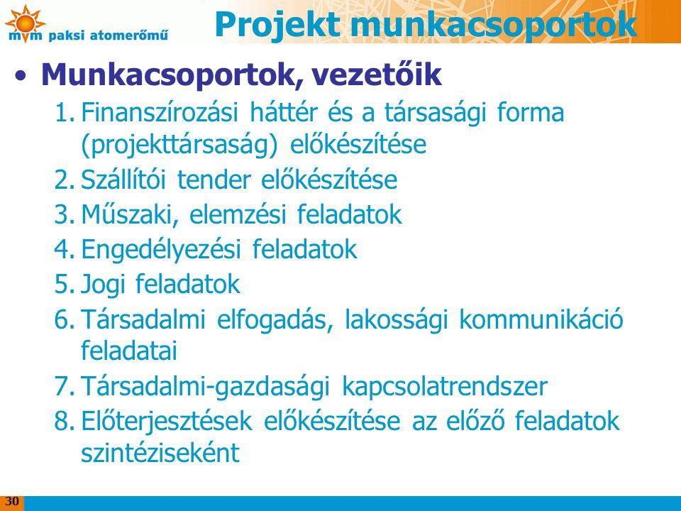 Projekt munkacsoportok