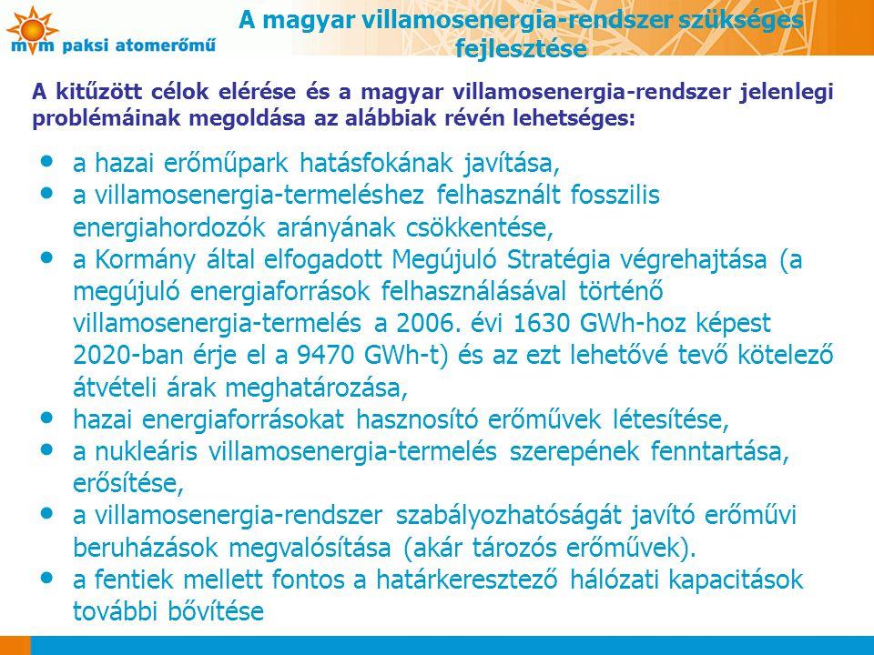 A magyar villamosenergia-rendszer szükséges fejlesztése
