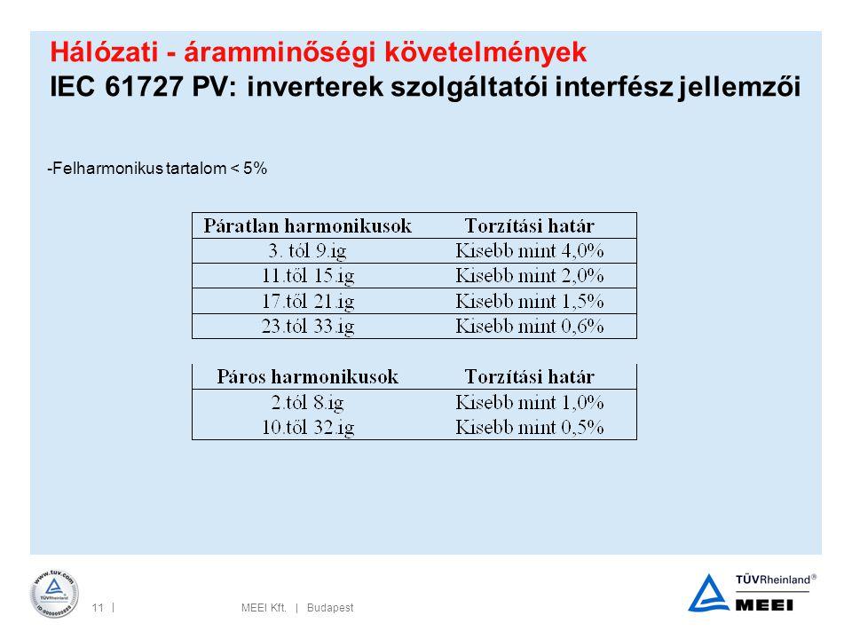 Hálózati - áramminőségi követelmények IEC 61727 PV: inverterek szolgáltatói interfész jellemzői