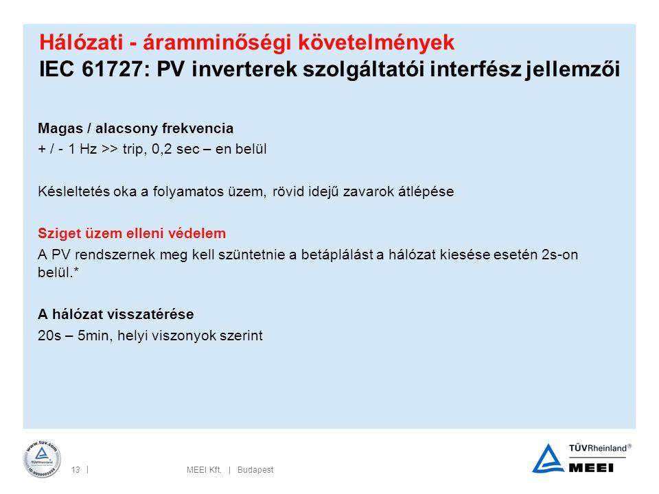 Hálózati - áramminőségi követelmények IEC 61727: PV inverterek szolgáltatói interfész jellemzői