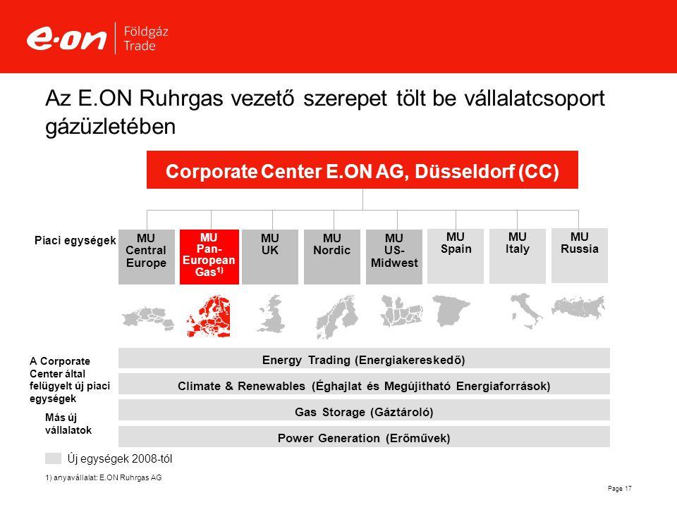 Az E.ON Ruhrgas vezető szerepet tölt be vállalatcsoport gázüzletében