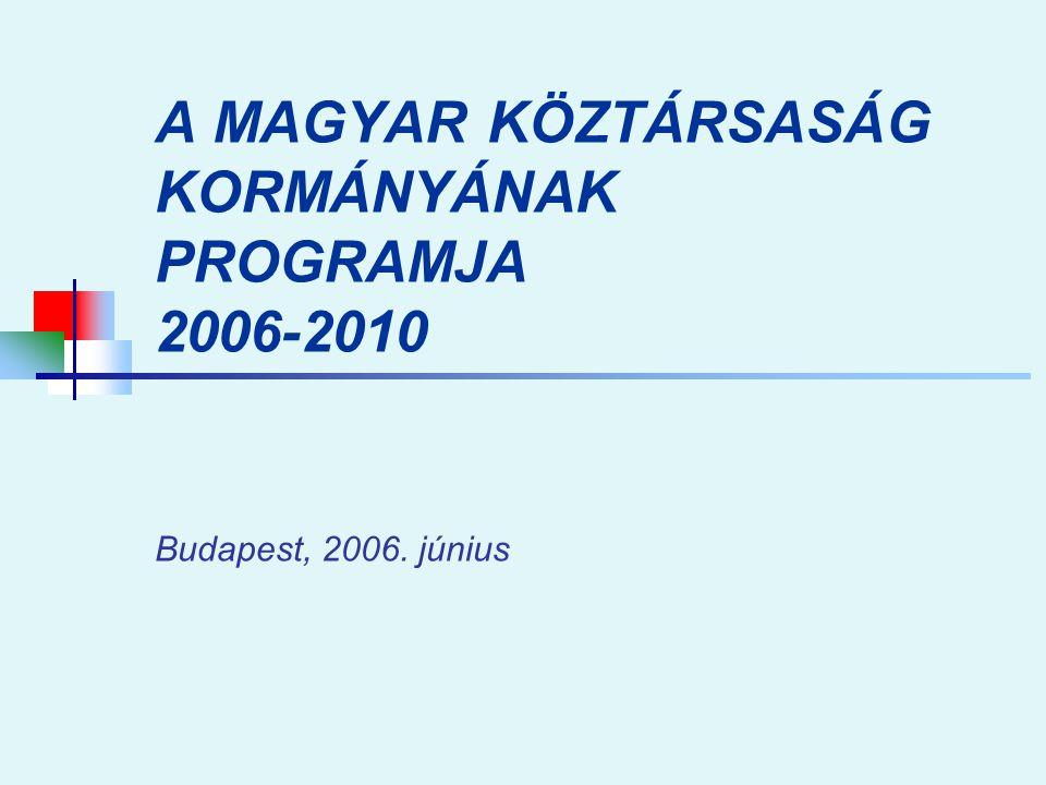 A MAGYAR KÖZTÁRSASÁG KORMÁNYÁNAK PROGRAMJA 2006-2010 Budapest, 2006