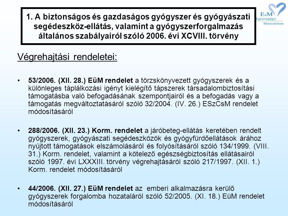 Végrehajtási rendeletei: