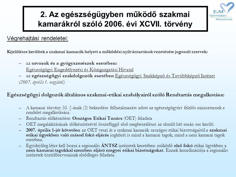 2. Az egészségügyben működő szakmai kamarákról szóló 2006. évi XCVII
