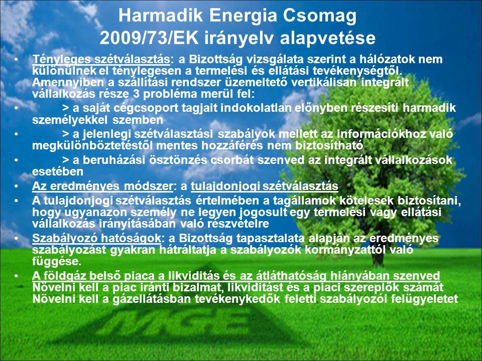 Harmadik Energia Csomag 2009/73/EK irányelv alapvetése