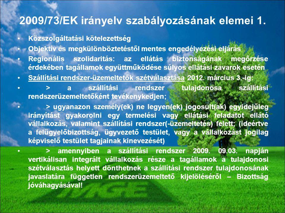 2009/73/EK irányelv szabályozásának elemei 1.
