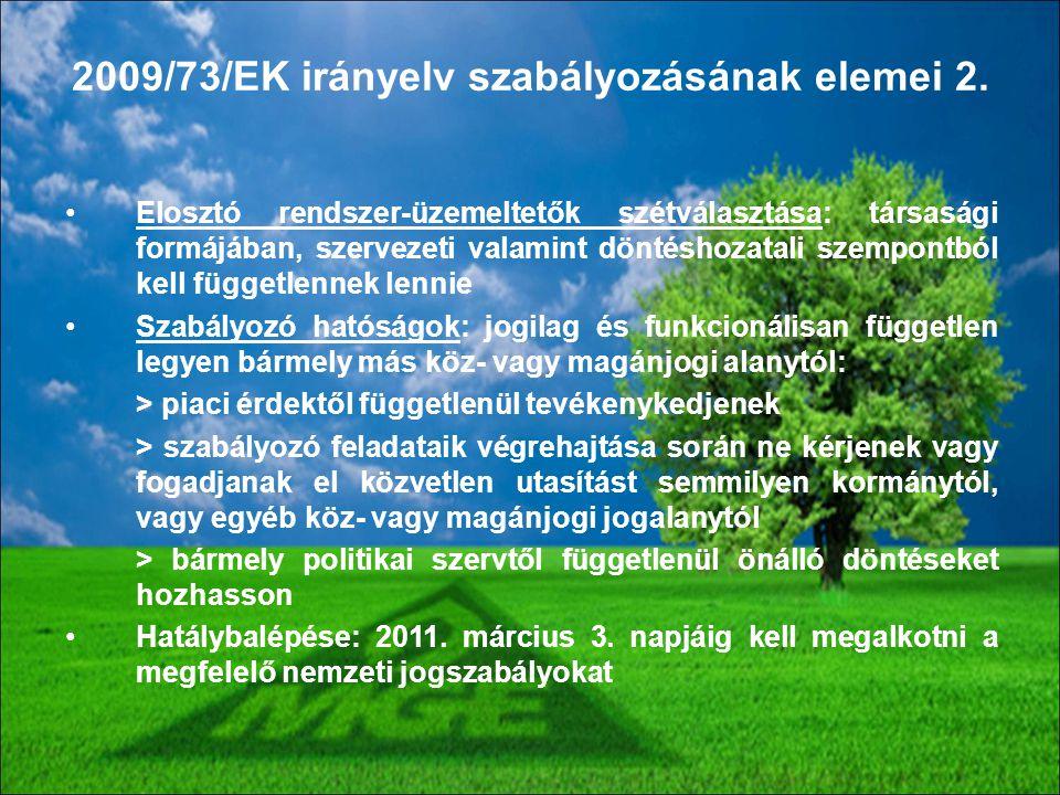 2009/73/EK irányelv szabályozásának elemei 2.