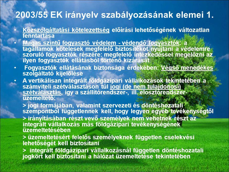 2003/55 EK irányelv szabályozásának elemei 1.