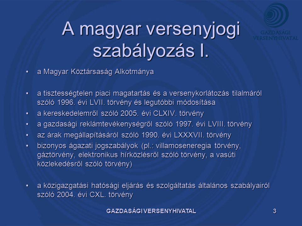 A magyar versenyjogi szabályozás I.