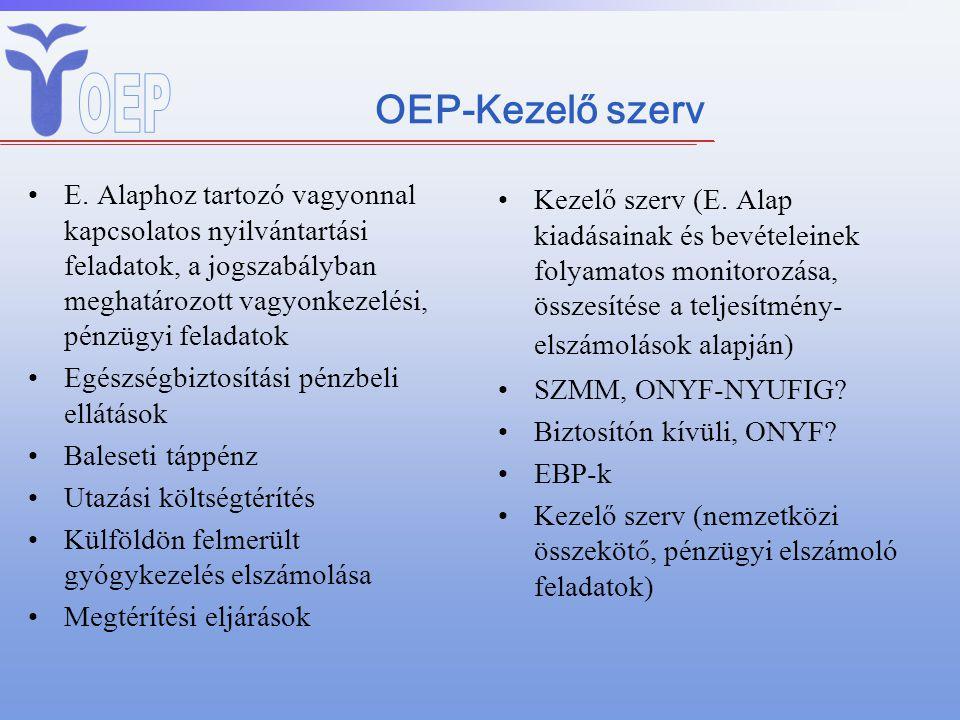 OEP-Kezelő szerv E. Alaphoz tartozó vagyonnal kapcsolatos nyilvántartási feladatok, a jogszabályban meghatározott vagyonkezelési, pénzügyi feladatok.