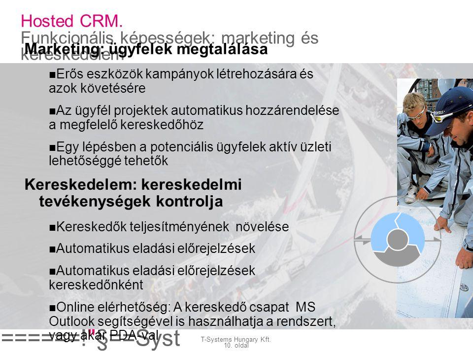 Hosted CRM. Funkcionális képességek: marketing és kereskedelem