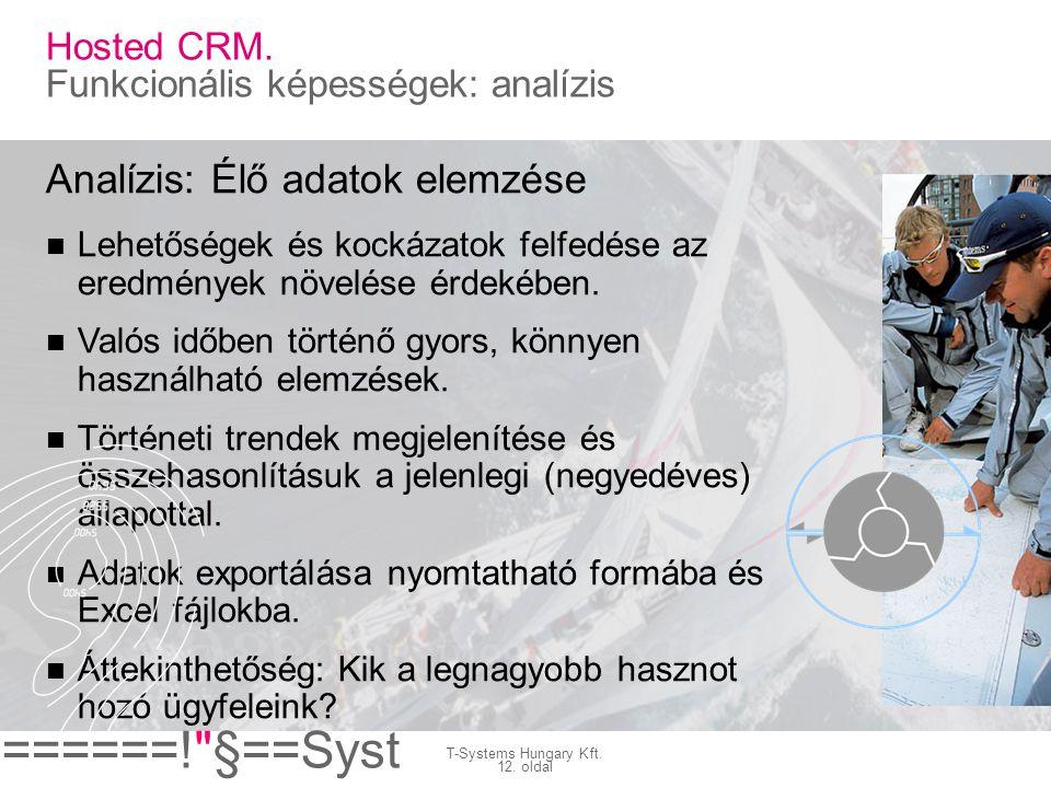Hosted CRM. Funkcionális képességek: analízis