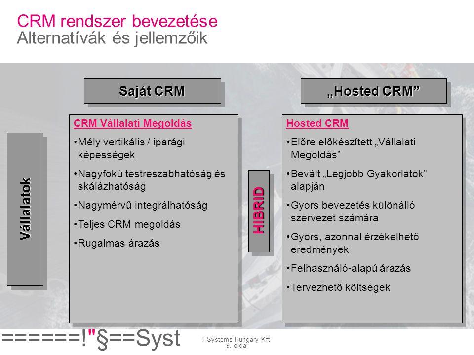 CRM rendszer bevezetése Alternatívák és jellemzőik