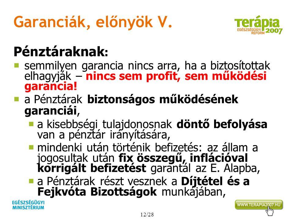 Garanciák, előnyök V. Pénztáraknak: