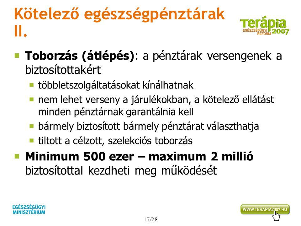 Kötelező egészségpénztárak II.