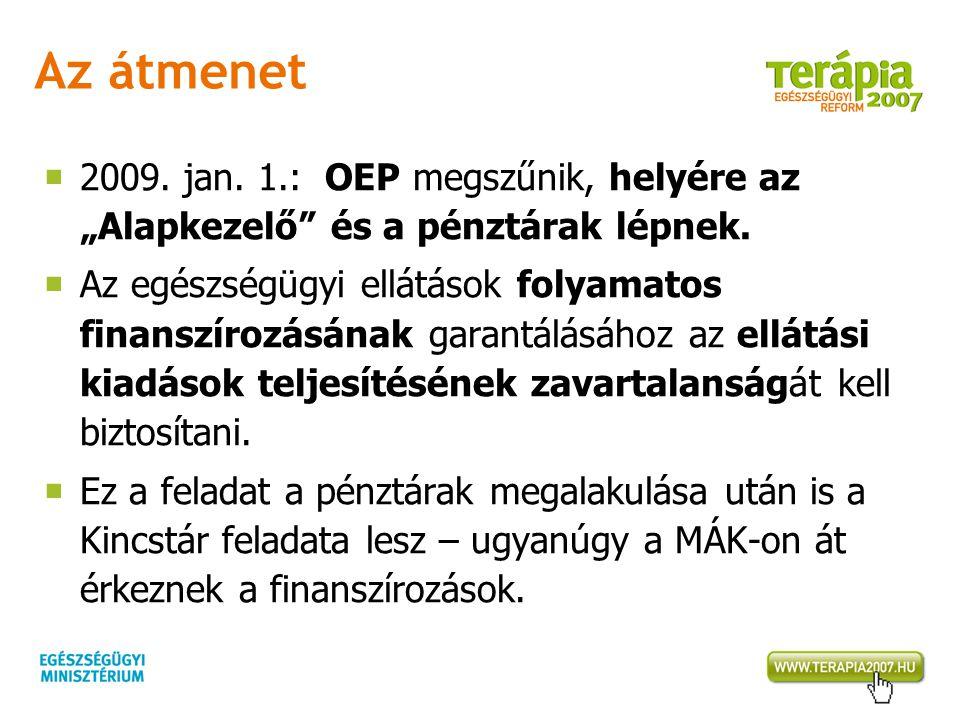 """Az átmenet 2009. jan. 1.: OEP megszűnik, helyére az """"Alapkezelő és a pénztárak lépnek."""