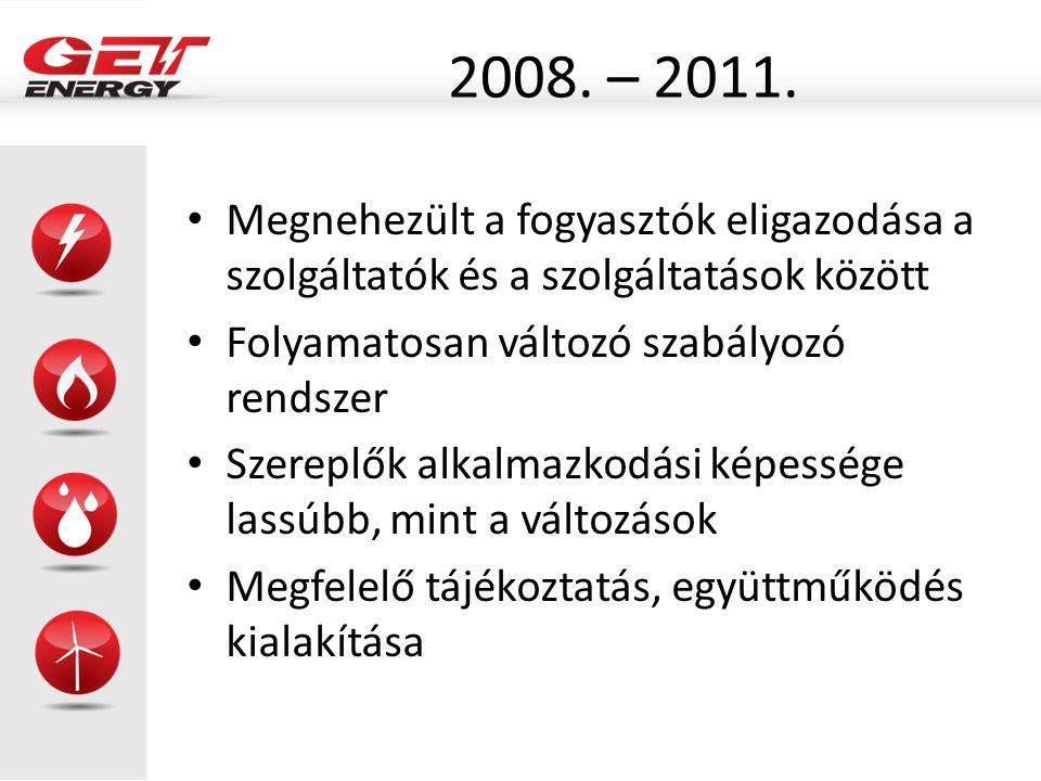 2008. – 2011. Megnehezült a fogyasztók eligazodása a szolgáltatók és a szolgáltatások között. Folyamatosan változó szabályozó rendszer.