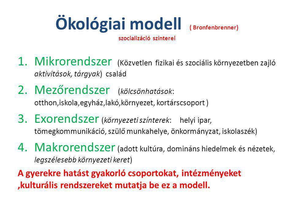 Ökológiai modell ( Bronfenbrenner) szocializáció színterei