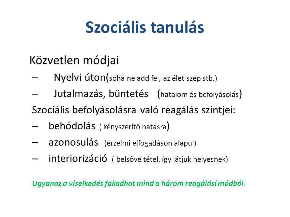 Szociális tanulás Közvetlen módjai