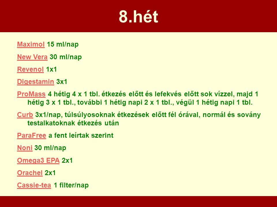 8.hét Maximol 15 ml/nap New Vera 30 ml/nap Revenol 1x1 Digestamin 3x1