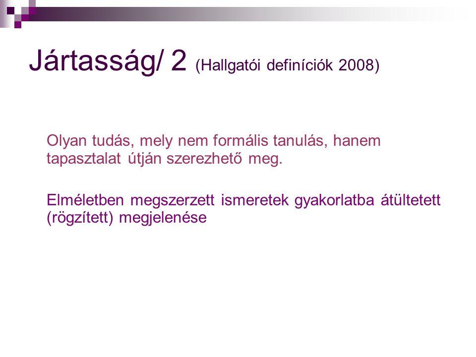 Jártasság/ 2 (Hallgatói definíciók 2008)