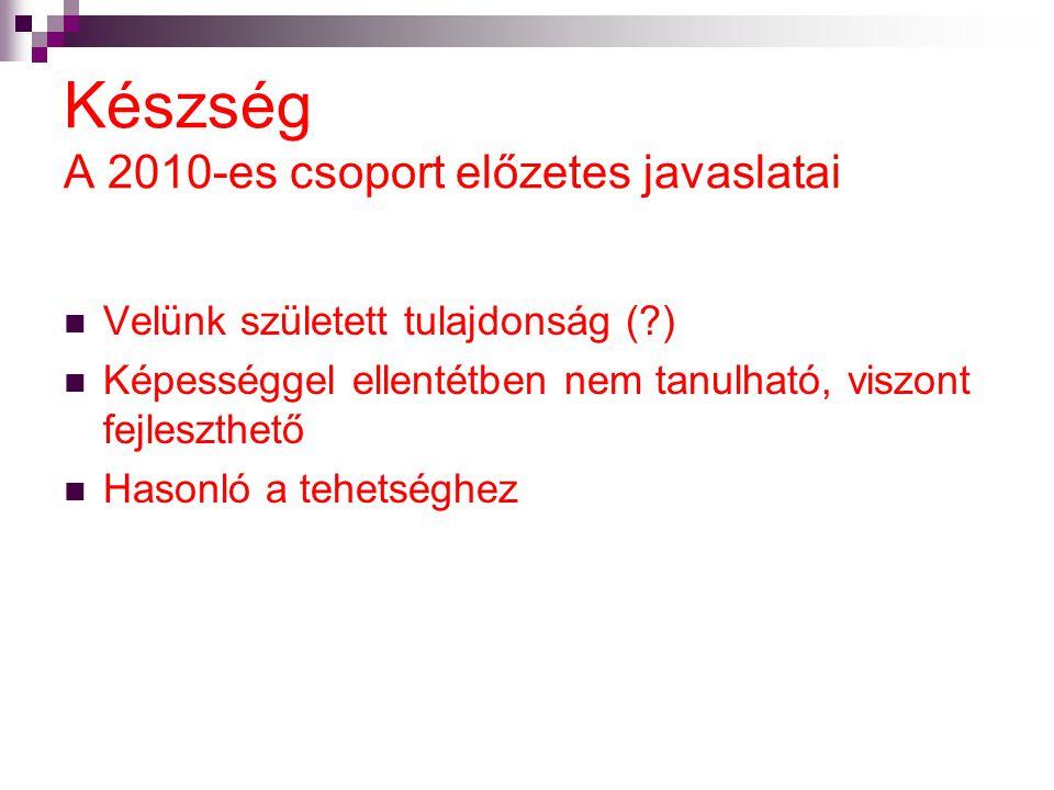 Készség A 2010-es csoport előzetes javaslatai