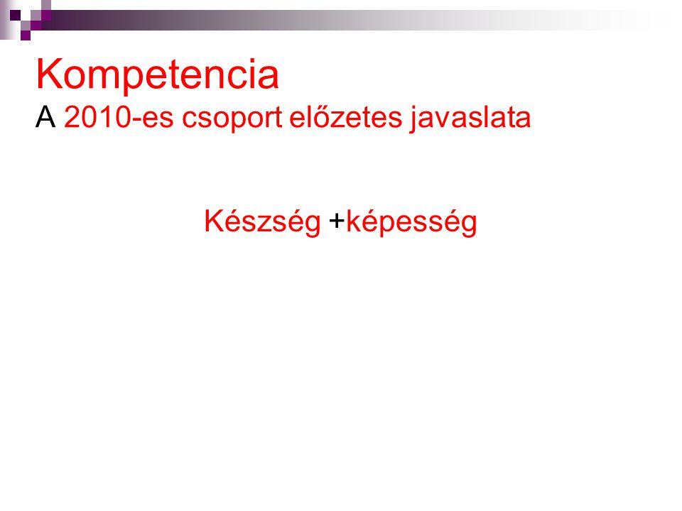 Kompetencia A 2010-es csoport előzetes javaslata