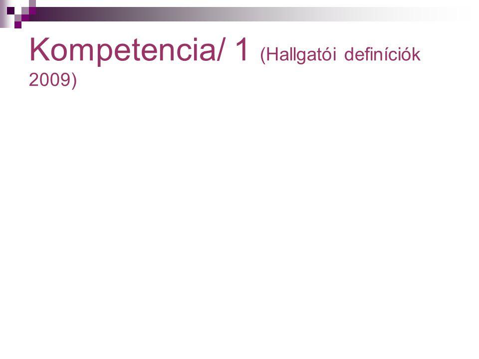Kompetencia/ 1 (Hallgatói definíciók 2009)