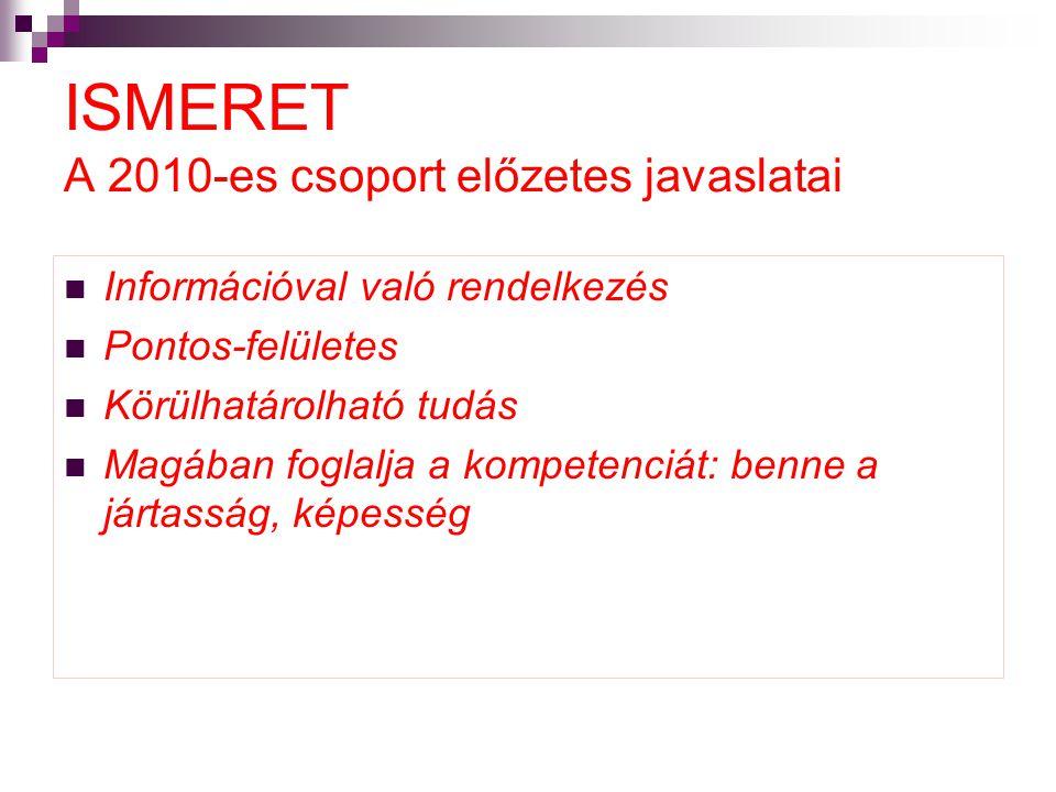 ISMERET A 2010-es csoport előzetes javaslatai