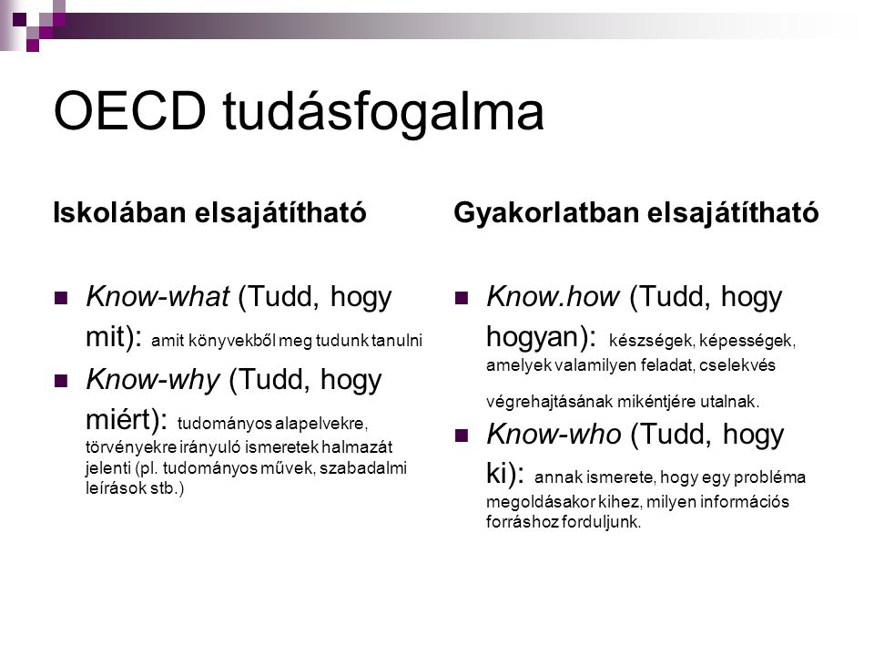 OECD tudásfogalma Iskolában elsajátítható