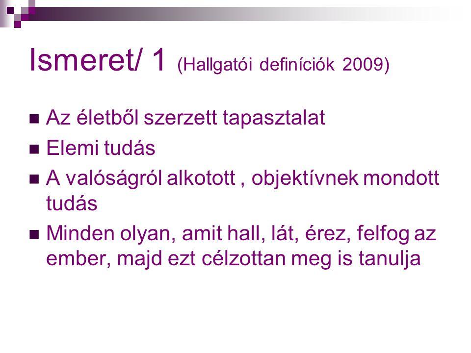 Ismeret/ 1 (Hallgatói definíciók 2009)