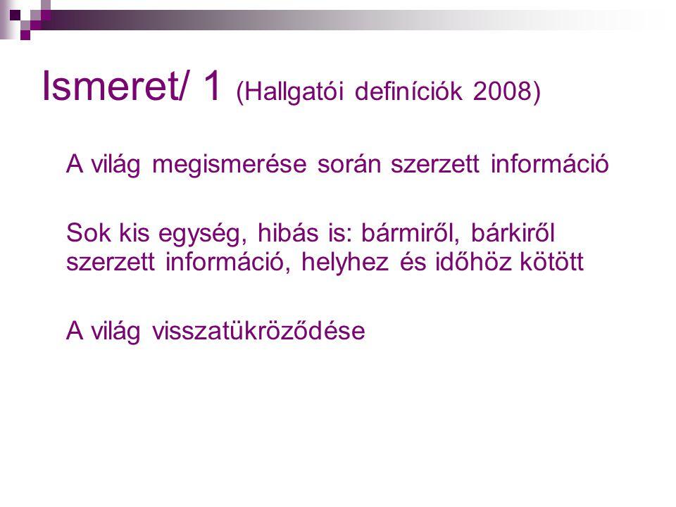 Ismeret/ 1 (Hallgatói definíciók 2008)