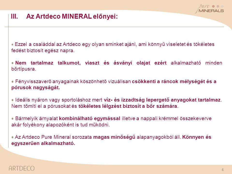Az Artdeco MINERAL előnyei: