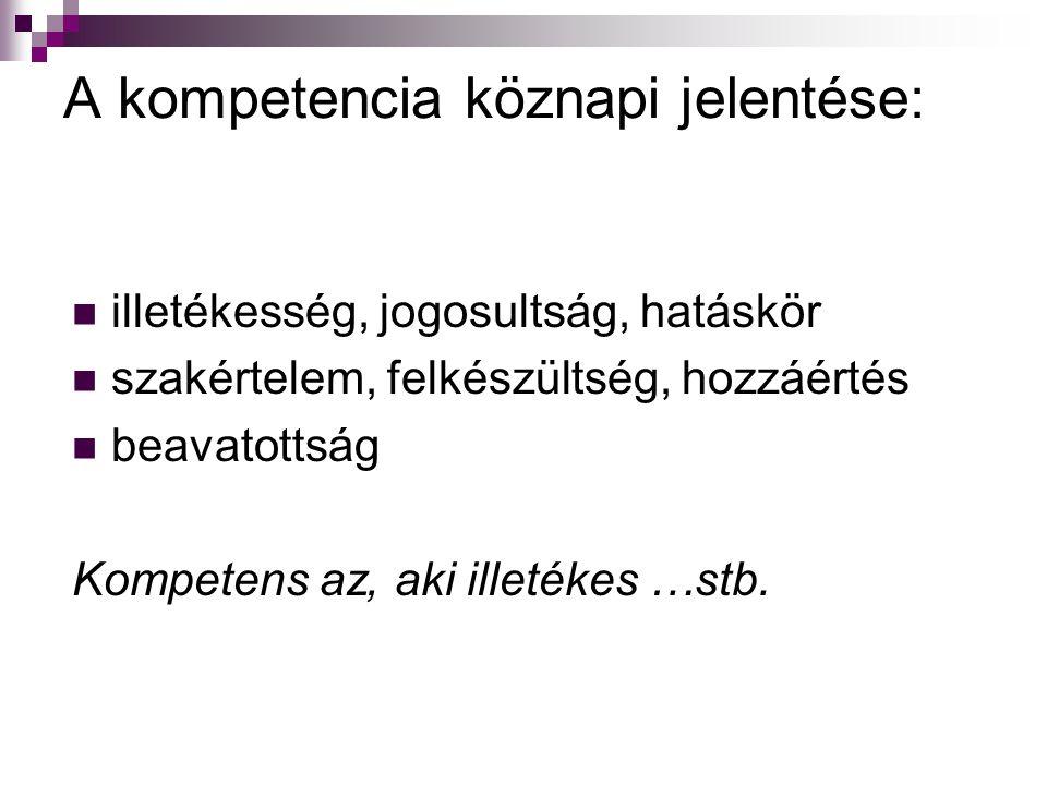 A kompetencia köznapi jelentése: