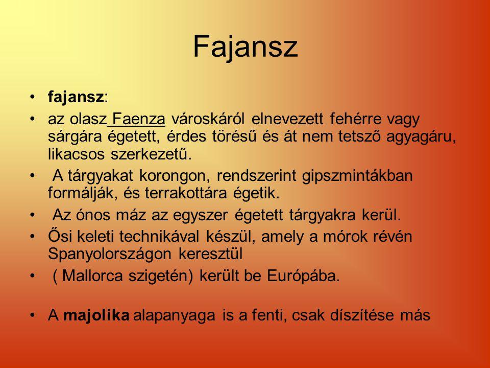 Fajansz fajansz: az olasz Faenza városkáról elnevezett fehérre vagy sárgára égetett, érdes törésű és át nem tetsző agyagáru, likacsos szerkezetű.