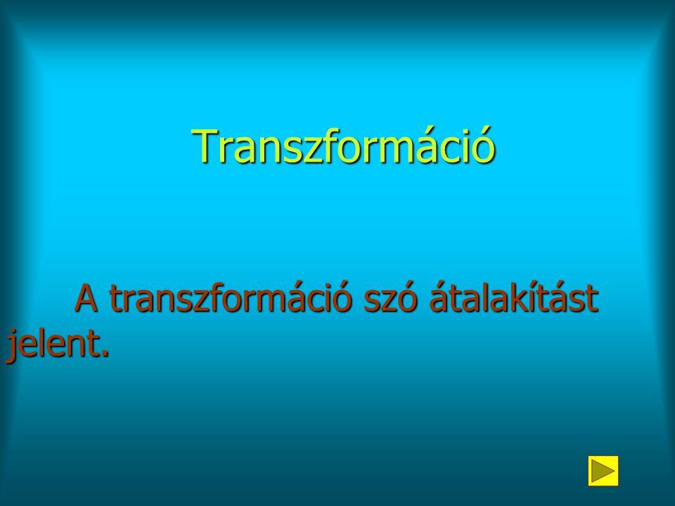A transzformáció szó átalakítást jelent.