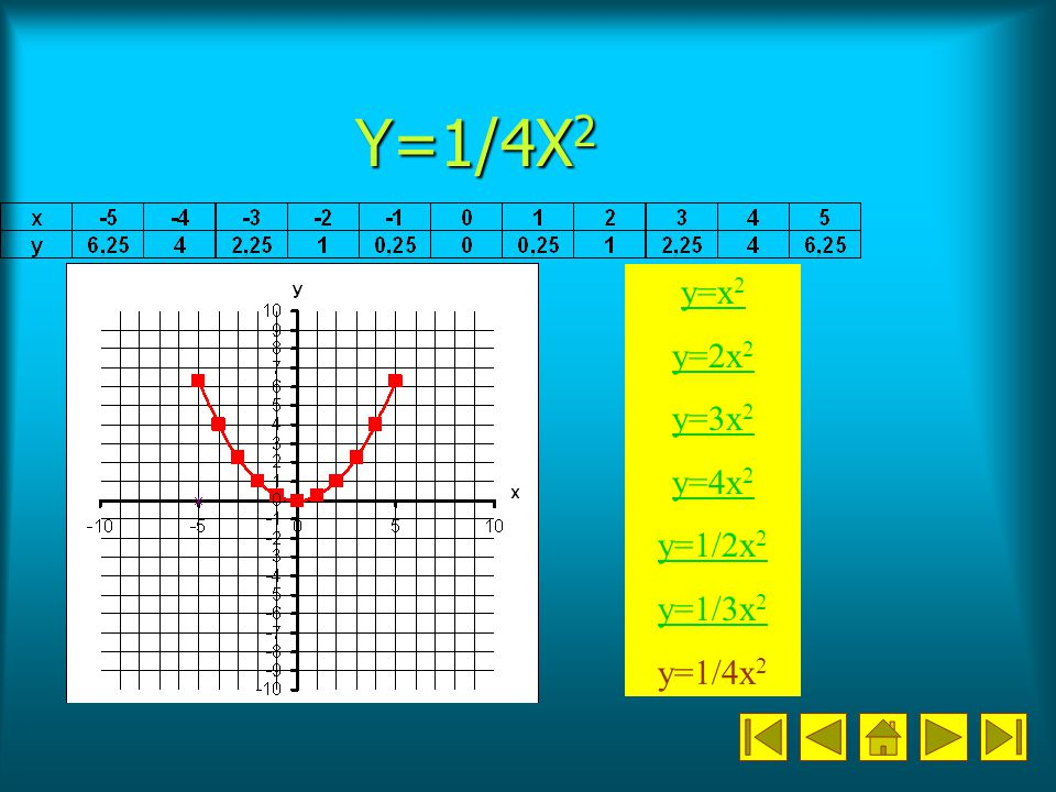 Y=1/4X2 y=x2 y=2x2 y=3x2 y=4x2 y=1/2x2 y=1/3x2 y=1/4x2