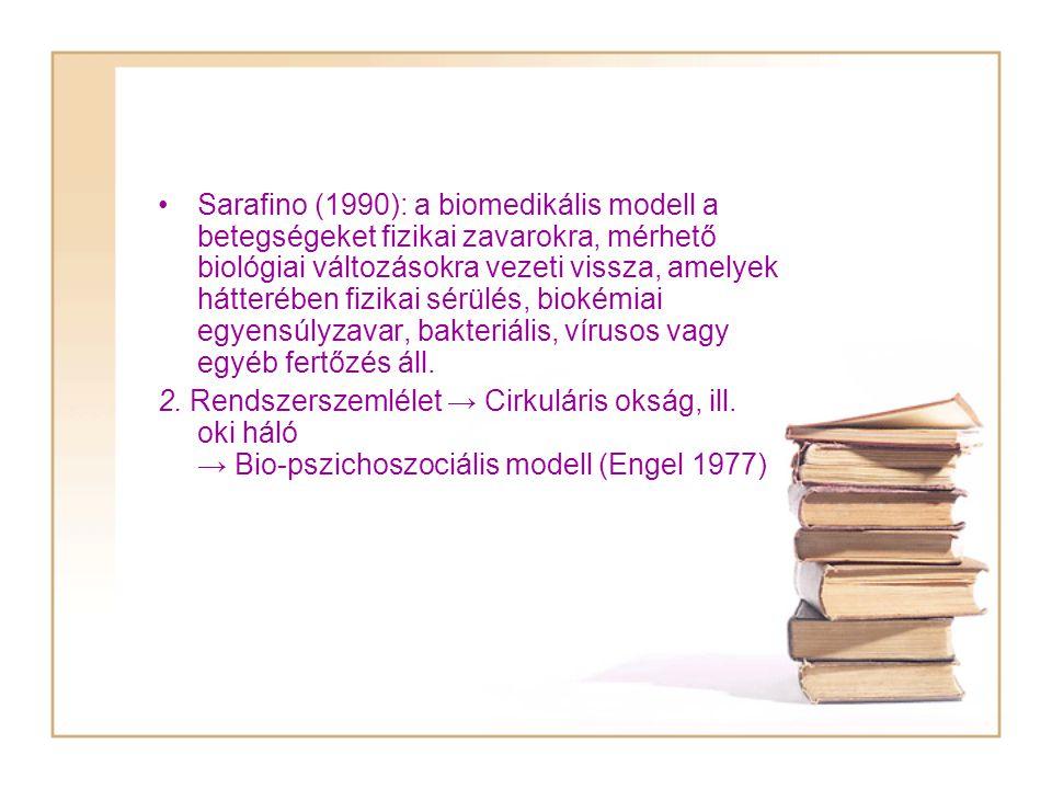 Sarafino (1990): a biomedikális modell a betegségeket fizikai zavarokra, mérhető biológiai változásokra vezeti vissza, amelyek hátterében fizikai sérülés, biokémiai egyensúlyzavar, bakteriális, vírusos vagy egyéb fertőzés áll.