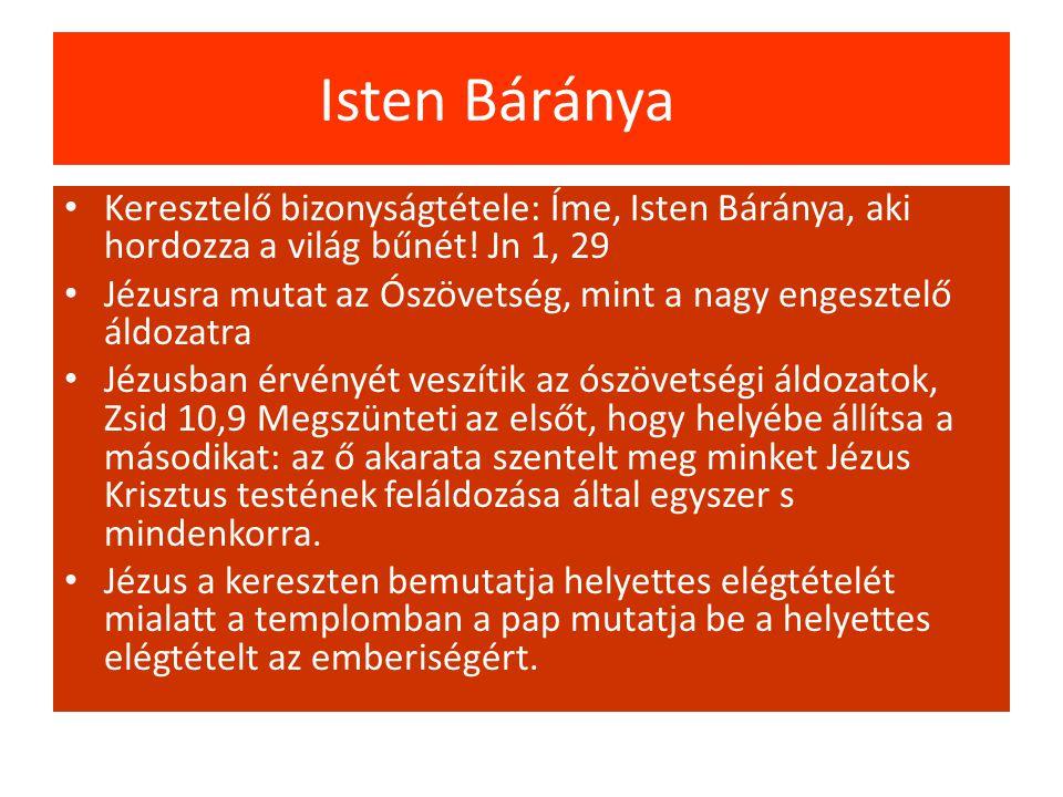 Isten Báránya Keresztelő bizonyságtétele: Íme, Isten Báránya, aki hordozza a világ bűnét! Jn 1, 29.