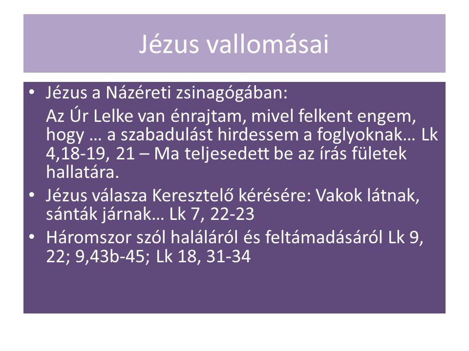 Jézus vallomásai Jézus a Názéreti zsinagógában: