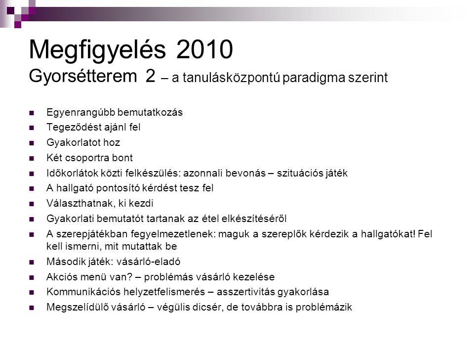 Megfigyelés 2010 Gyorsétterem 2 – a tanulásközpontú paradigma szerint
