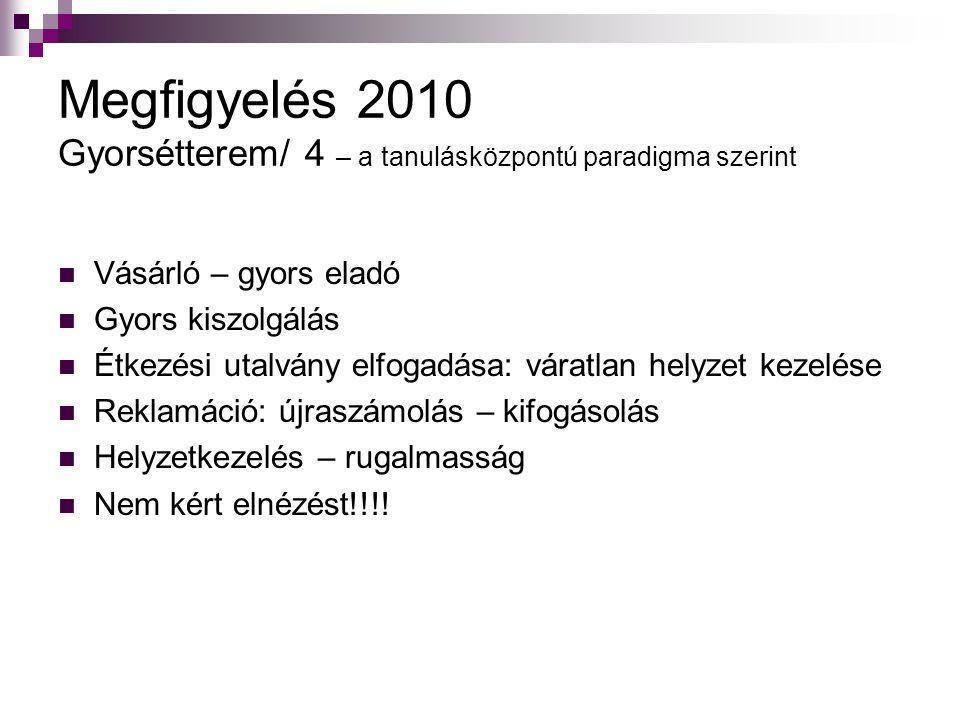 Megfigyelés 2010 Gyorsétterem/ 4 – a tanulásközpontú paradigma szerint