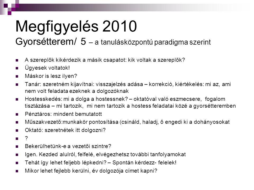 Megfigyelés 2010 Gyorsétterem/ 5 – a tanulásközpontú paradigma szerint
