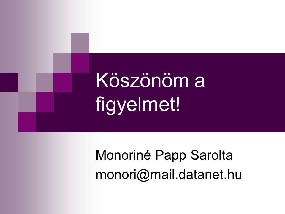 Monoriné Papp Sarolta monori@mail.datanet.hu