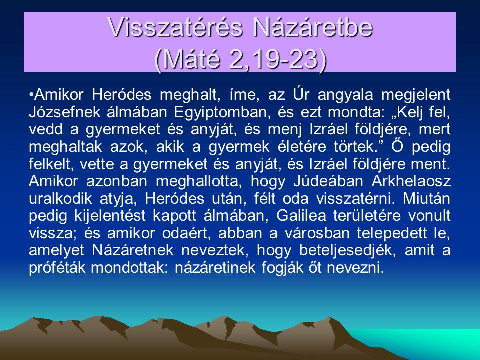 Visszatérés Názáretbe (Máté 2,19-23)