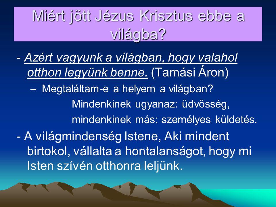 Miért jött Jézus Krisztus ebbe a világba