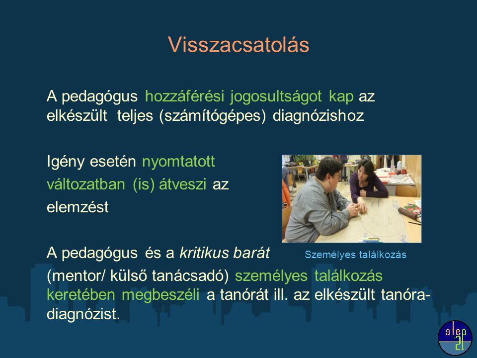 Visszacsatolás A pedagógus hozzáférési jogosultságot kap az elkészült teljes (számítógépes) diagnózishoz.