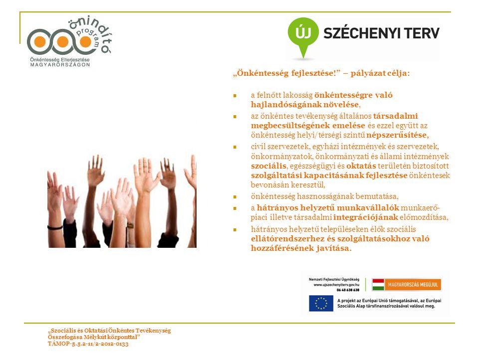 """""""Önkéntesség fejlesztése! – pályázat célja:"""