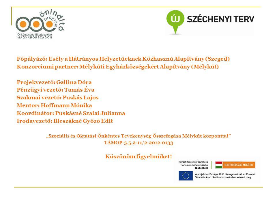 Konzorciumi partner: Mélykúti Egyházközségekért Alapítvány (Mélykút)